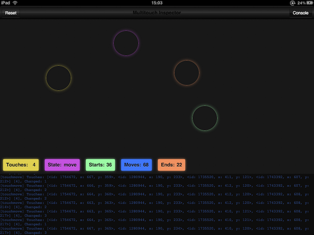 Screenshot of the Multitouch Inspector