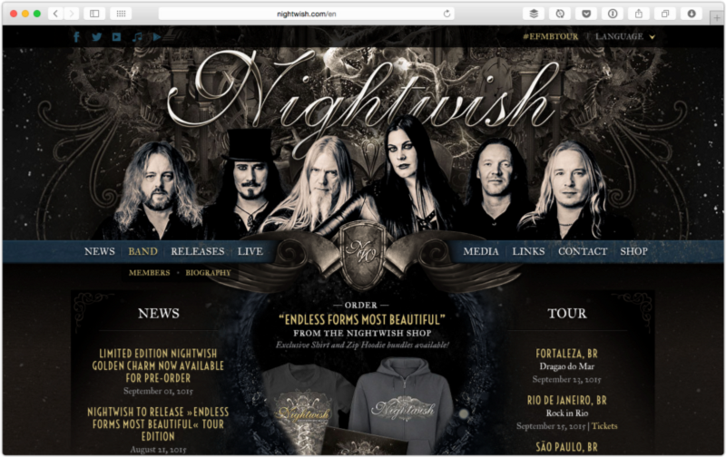 The website of Nightwish